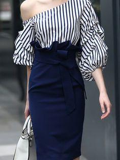 Navy Blue Sheath Elegant Stripes Midi Dress