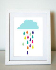 Rainbow Raindrops 8 x 10 Art Print/Wall Art - Baby Nursery Decor and Children's Room Decor. $20.00, via Etsy.  If all the rain drops were lemon drops and gum drops....