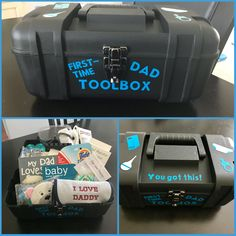 First time dad tool box with all of the essentials. First time dad tool box with all of the essentials. First Time Dad Gifts, Baby Gifts For Dad, Gifts For New Dads, Dad Baby, Daddy Gifts, Baby Box, Baby Shower Gift Basket, Baby Shower Presents, Baby Shower Gifts For Boys