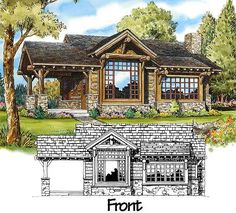 Plans for a 681sqft rustic house. Two bedrooms each with their own baths. Also has covered porch with stone footings.
