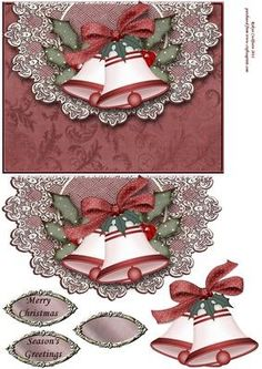 Red Christmas Bells on Lace Envelope Card Front on Craftsuprint designed by Robyn Cockburn - Christmas bells with holly on a lace topped faux envelope. - Now available for download!