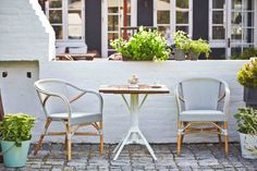 """""""Madelein arm chair"""" fits perfectly with """"Nicole cafe table"""". #sikadesign #rattan #handmadefurniture #furniture #design #danishdesign #exterior #inspiration #decor #chair #danish #summer #spring #chair #table #outdoor #affaire"""