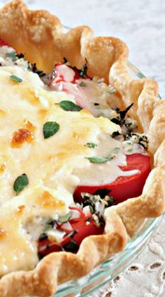 Tomato Pie Recipe - Cooking with Paula Deen Quiche Recipes, Pie Recipes, Casserole Recipes, Vegetable Recipes, Vegetarian Recipes, Cooking Recipes, Tomato Dishes, Vegetable Dishes, Quiches