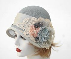 1920's Style Summer Cloche Hat in Shabby Chic Blue Lace ♥ by BuyGail