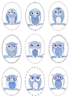 line, pattern, vintage, graphic, nature, birds, owls, blue and white