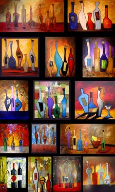 Wine Bottle Art ~ Rui Falcão - I like non-repetitive motif if that is such a thing.