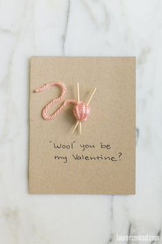 Cute 'Wool you be my valentine' card - perfect for your gal-pal who knits!