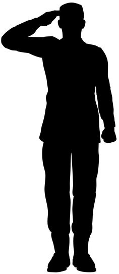 Army Soldier Saluting Silhouette PNG Clip Art Image