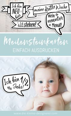 Meilensteinkarten zum Ausdrucken With the milestone cards to print you can capture special moments. Even as a present, printed on beautiful paper and in a pretty box with ribbon, they are a whole personal idea. Baby Nursery Diy, Diy Baby, Baby Zimmer, Baby Co, Premature Baby, Pretty Box, Baby Scrapbook, Baby Milestones, Nursery Design