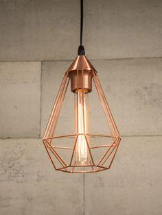 Copper Wire cage pendant light