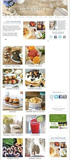 Summer Entertaining Guide - Recipes, Grilling, Party Menus & Easy Table Settings!    http://www.jennysteffens.com/summerentertaini.html