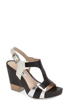 Clarks Narrative Clarks® Narrative 'Rosalie Petal' Demi-Wedge Leather Sandal (Women) available at #Nordstrom via @loveirisblog