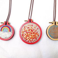 So here's the rest of the group. Cute mini hoops made red and filled with tiny embroideries. They've landed in my etsy shop www.etsy.com/uk/shop/bluestiggy Thankyou so much to @dandelyne for supplying the hoops xxx