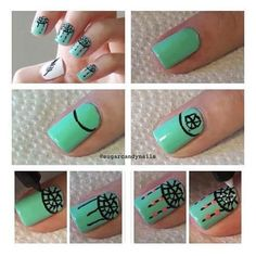 How to do dream catcher nails - turquoise green polish nail art pens Nail Art Pen, Cute Nail Art, Easy Nail Art, White Nail Designs, Nail Art Designs, Gorgeous Nails, Love Nails, Amazing Nails, Dream Catcher Nails