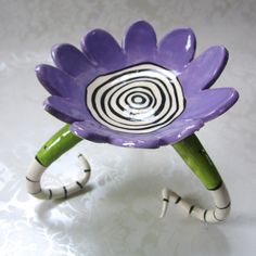 purple Beetlejuice dish candle holder : ceramic with by maryjudy