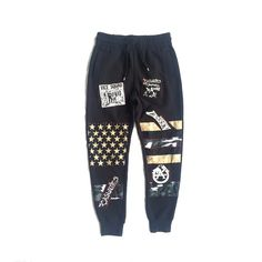 LOVEMYFRESH JoggersBlackCUSTOM Sweatpants with elasticized drawstring waistband, side pockets, one back pocket, and ribbed hems. Brushed insideBlack and off white striped American Flag on knee detail, including 5 black patchesNote: each pair does not have the same patches