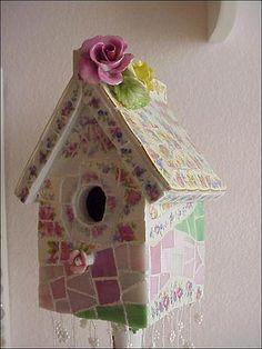 china mosaic baby birdhouse garden path7 by Enchanted Rose Studio, via Flickr