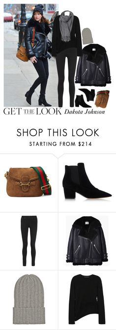 """Get the look: Dakota Johnson"" by lexixoxo87 ❤ liked on Polyvore featuring moda, Gucci, Tabitha Simmons, Acne Studios, The Elder Statesman, Alexander Wang, women's clothing, women's fashion, women y female"