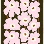 Marimekko's Mini Unikko fabric features the iconic floral pattern by Maija Isola in delicate shades of dark green, light pink and brown. The heavyweight cotton fabric is made of cotton which has been printed in Helsinki, Finland. Marimekko Wallpaper, Marimekko Fabric, Marimekko Dress, Fabric Patterns, Color Patterns, Floral Patterns, Fun Patterns, Palette Pastel, Palette Design