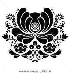 Norwegian folk art black and white pattern - Rosemaling style embroidery    by RedKoala #scandinavia #norway #sweden