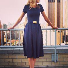 navy dress | belt