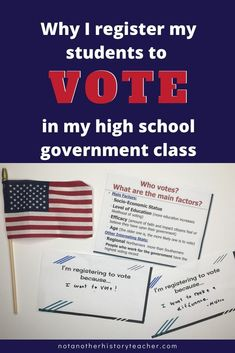 Read this post FULL of engaging and meaningful voter lesson activities.  Teach students about the importance of voting and learn why high school social studies teacher, Melissa Seideman, even registers her students to vote! This is a don't miss blog post!! #notanotherhistoryteacher #voting #government #highschool #socialstudies