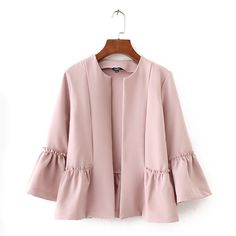Women Sweet Ruffles Jacket Open Stitch Design Flare Sleeve Coats Solid Ladies Casual Outerwear Tops, You can collect images you discovered organize them, add your own ideas to your collections and share with other people. Muslim Fashion, Modest Fashion, Hijab Fashion, Fashion Dresses, Mode Abaya, Latest Fashion For Women, Womens Fashion, Jackets For Women, Clothes For Women