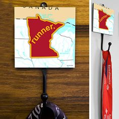 Minnesota State Runner Medal Hook - This GoneForaRUN exclusive Wall Medal Display is made from hand-forged steel and features a customized printed tile.  Showcase one special medal, or stack multiple medals on the hook for easy access.