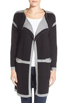 Vince Camuto Engineered Stripe Long Open Front Cardigan available at #Nordstrom