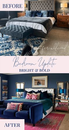Bright and Bold Bedroom Remodel - Jennifer Allwood Home Navy Master Bedroom, Master Bedroom Makeover, Master Bedrooms, Pink Pillow Cases, Pink Pillows, White And Navy Bedding, Small House Decorating, Decorating Tips, Teal Chair