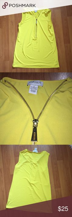 Carmen Marc valvo yellow top Carmen Marc valvo yellow top with front adjustable zipper size small.  Measurements taken laying flat  13in shoulders  26in length Carmen Marc Valvo Tops Blouses