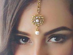 Gold Kundan Pearl Headpiece Tikka Tika Jewelry/ by Beauteshoppe