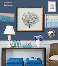 Dark blue paint samples nautical blue paint colors home decor store Blue Paint Colors, Blue Color Schemes, Wall Colors, Nautical Paint Colors, Room Colors, Dining Room Blue, Dining Room Design, Interior Design Living Room, Interior Paint