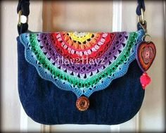 Denim purse with crochet accent flap. LOVE!!!!!!