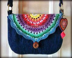 Denim purse with crochet accent flap. LOVE!!!!!!