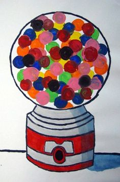 Wayne Tiebaud Inspired Bubble Gum Machines Have kids put their favorite object/candy, overlapping shapes