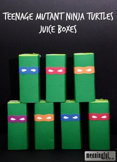 Teenage Mutant Ninja Turtle Juice Boxes- these are so fun! Perfect for a birthday party. (FREE PRINTABLE)