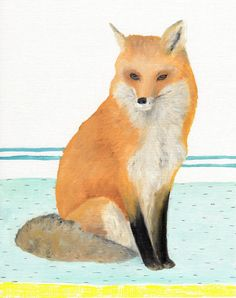 Original Oil Painting  Preppy Artwork  Playful Fox by by Hazen21, $82.00