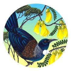 Round Paintings by Anna Evans. Birds Painting, New Zealand Art, Art Painting, Maori Art, Nature Art, Art Workshop, Art, Bird Art, Nz Art