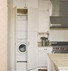 Kitchens with a Laundry Area-An excellent way to hide your kitchen laundry center is with a simple curtain. The extra space that this curtain leaves in the laundry room creates hidden storage space for clean laundry or detergent. U Shaped Kitchen, Home, Washer And Dryer, Closet Storage, Kitchen Inspirations, Laundry, Kitchen Washer, Laundry Center, Laundry In Kitchen