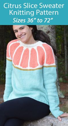 """Sweater Knitting Pattern Citrus Slice Pullover Jumper - Pullover sweater featuring a yoke worked in stranded color work meant to resemble a citrus fruit cut in half! Pictured sample knit to show a grapefruit. Simply change up the colors to create a lemon, lime or orange! Sizes 36 (40, 44, 48, 52) (56, 60, 64, 68, 72)"""" / 91.5 (101.5, 112, 122, 132) (142, 152.5, 162.5, 172.5, 183) cm Bust Circumference Designed by Annie Lupton. Aran weight yarn."""
