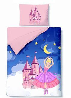 kinderbettw sche bettw sche prinzessin 100x135 rosa blau. Black Bedroom Furniture Sets. Home Design Ideas