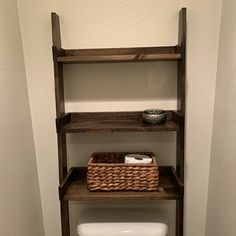 This listing is for an over-the-toilet ladder shelf. Its a great space saver. We do have some Dark Walnut stained ladder shelves that ship within 1 business day that you can view here: Over The Toilet Ladder, Over Toilet Storage, Bathroom Storage, Bathroom Interior, Toilet Stains, Minwax Stain, Dark Walnut Stain, Ladder Bookcase, Plank