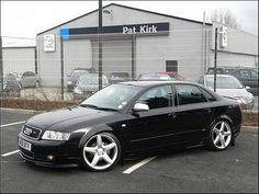 "Modified Audi A4 1.9 TDI 2001  SUSPENSION MODIFICATIONS  new apex coliovers will go all the way down to 120mm    ALLOY WHEELS  477 19"" amg    TYRES  255 standard tyres    BRAKES  new heavy duty braker with brimbo calipers    EXTERIOR MODIFICATIONS  full s-line bodykit with two twin pipe both smoking,h7 10000k soon goin in to her    INTERIOR MODIFICATIONS  new cd/dvd player fitted,leon light soon going in to it and full s-ling interior"