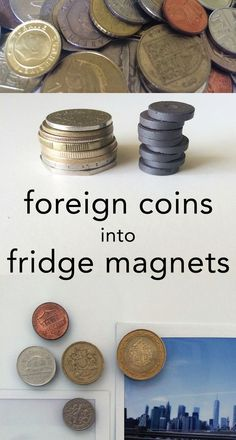 Turn foreign coins into fridge magnets, Category citation index daily direct experiments fiction hub Coin Crafts, Crafts To Do, Coin Display, Display Case, Souvenir Display, Foreign Coins, Home Decoracion, Travel Crafts, Diy Magnets