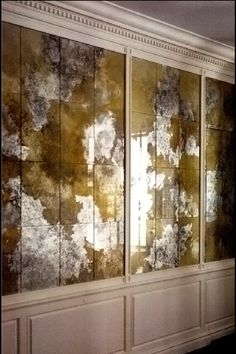 Verre églomisé - French technique in which the back of a mirror is gilded with gold or metal leaf. So pretty (by vesna bricelj)