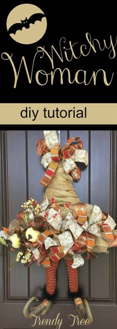 2017 Witch Hat Wreath Tutorial - Trendy Tree Blog| Holiday Decor Inspiration | Wreath Tutorials|Holiday Decorations| Mesh & Ribbons