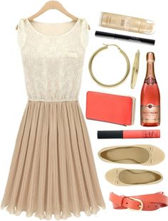 """""""coral, cream, and beige"""" by nicki-rae on Polyvore"""