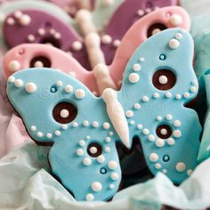 butterfly decorated fondant cookies - Google Search