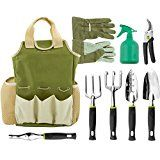 GREAT GARDENING GIFTS - Includes 6 hand tools with garden gloves and sprayer bottle, and even a caddy for gardening tool storage